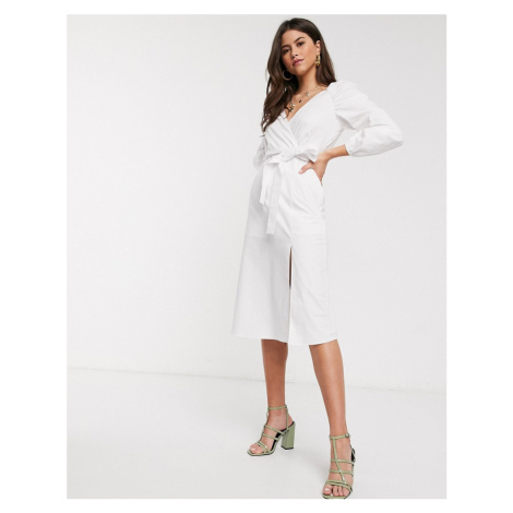 River Island shirred fluted cuff midi dress in white