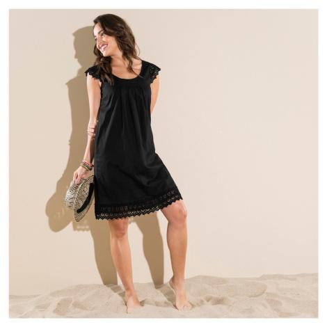 Blancheporte Šaty s macramé černá