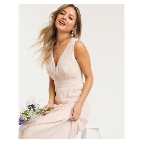 TFNC bridesmaid pleated sleeveless maxi dress in ecru-Cream