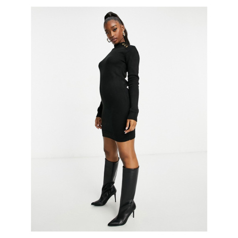 Brave Soul rula knitted jumper dress with buttons-Black
