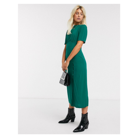 ASOS DESIGN midi tea dress with buttons and split detail in forest green