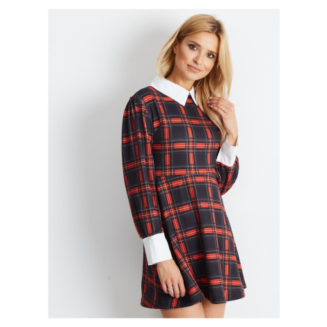 Black and white plaid dress with a collar and cuffs Fashionhunters