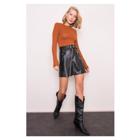 BSL Black skirt made of ecological leather