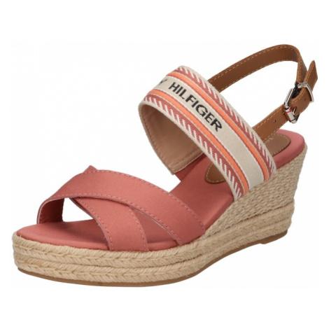TOMMY HILFIGER Páskové sandály starorůžová / krémová / černá / tmavě oranžová / brokátová