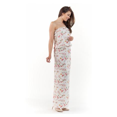 Smetanové květované šaty A219 Awama