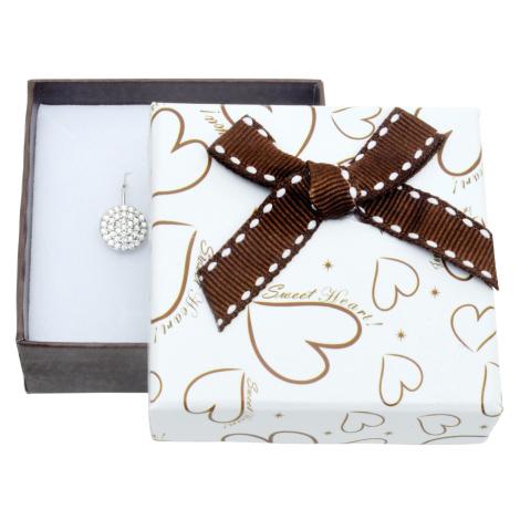 JKBOX Papírová krabička na malou sadu v bílohnědé barvě se srdíčky IK010