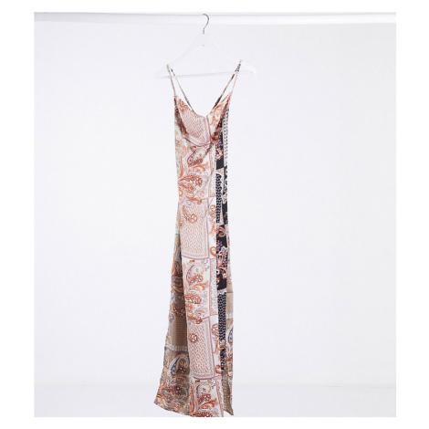Missguided Petite satin cowl neck maxi dress in paisley print-Multi