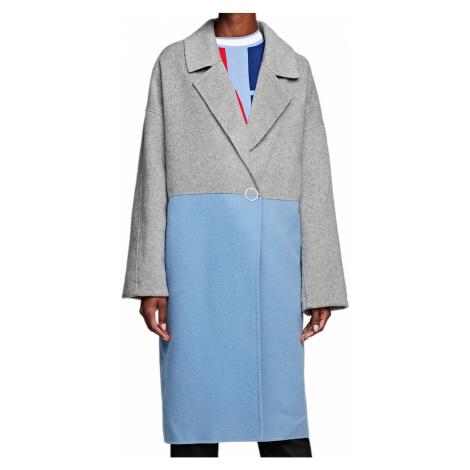 Vlněný šedomodrý kabát KARL LAGERFELD