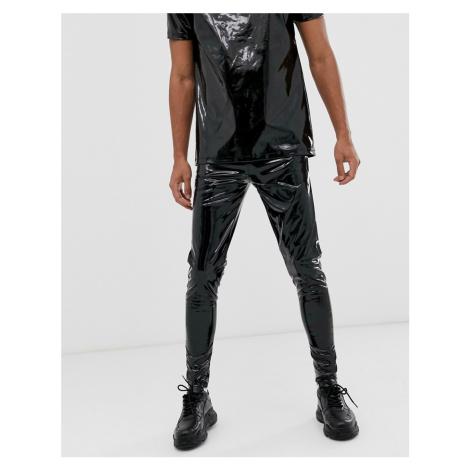 ASOS DESIGN co-ord megging in black wet look