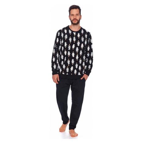 Pánské pyžamo Leo černé se stromečky