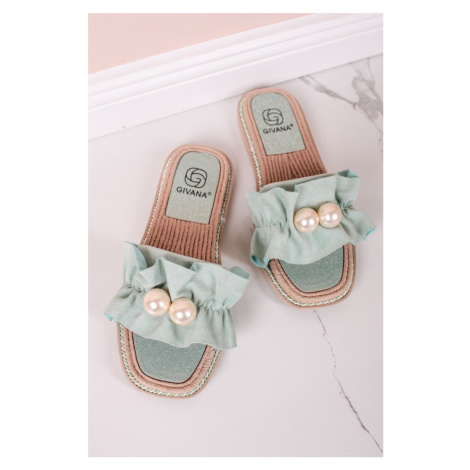 Mátové nízké pantofle s perlami Anette Givana