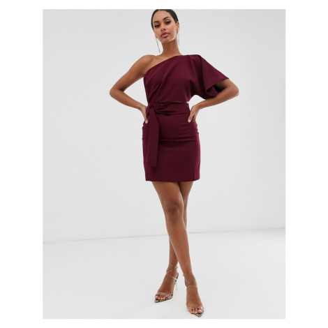 Vesper one shoulder mini dress with cut out and tie detail in rasberry-Red