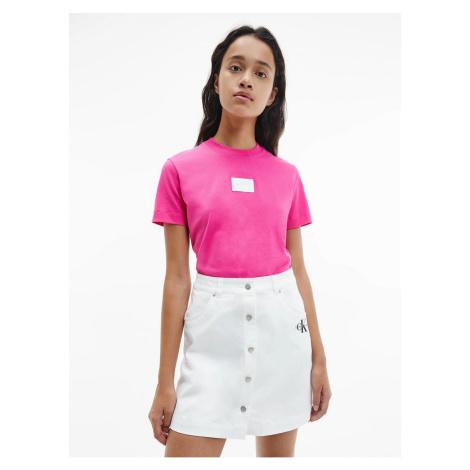 Calvin Klein Calvin Klein Jeans dámské růžové tričko SHINE BADGE TEE