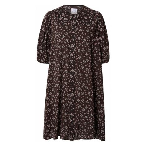 Line of Oslo Košilové šaty 'Lovely' bílá / tmavě růžová / tmavě hnědá