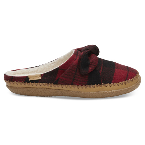 Red Plaid Felt/Bow Women's Ivy slipper Toms