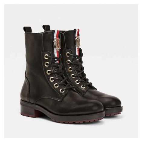 Tommy Hilfiger dámské černé kotníkové boty Biker boot