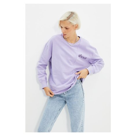 Trendyol Lilac Color Block and Embroidery Loose Knitted Sweatshirt