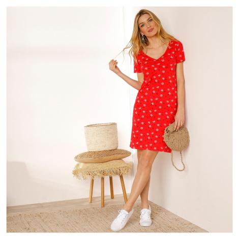 Blancheporte Šaty s krátkými rukávy a potiskem červená