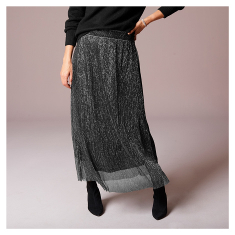 Blancheporte Plisovaná lesklá sukně černá/stříbřitá