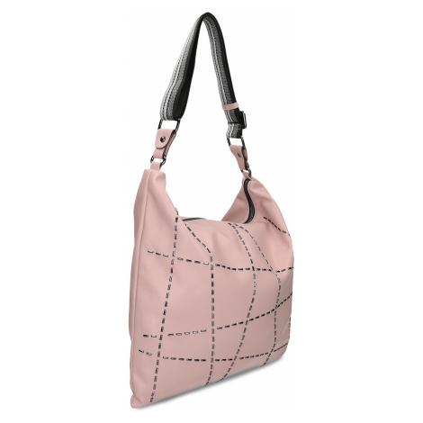 Růžová dámská kabelka s geometrickým vzorem Baťa