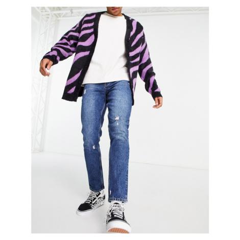 ASOS DESIGN slim jeans in dark wash with abrasions-Blue