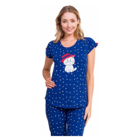 Dámské pyžamo kapri Vienetta Secret Kotě s kloboukem | tmavě modrá