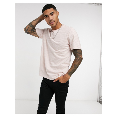 Only & Sons t-shirt in fine stripe pink