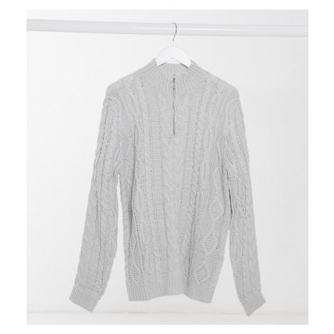 ASOS DESIGN Tall heavyweight cable knit half zip jumper in light grey