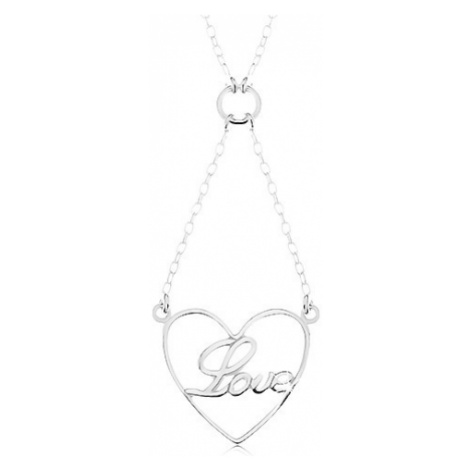 Náhrdelník ze stříbra 925, řetízek a přívěsek - kontura srdce, nápis Love Šperky eshop