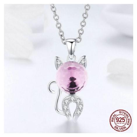 Stříbrný náhrdelník pro štěstí s přívěskem kočka s kamínky