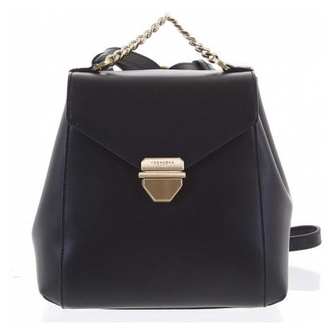 Malý luxusní kožený černý batůžek/kabelka - Hexagona Zondra