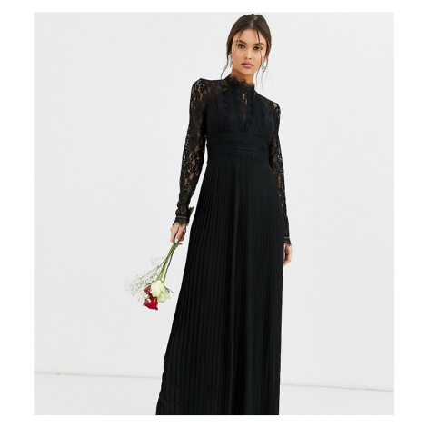 TFNC Bridesmaid high neck long sleeve pleated maxi dress with lace inserts in black