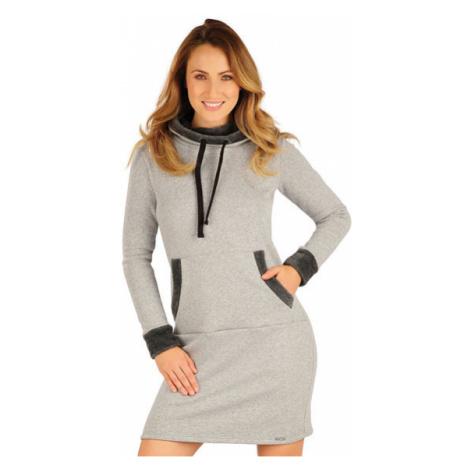 Dámské mikinové šaty s kapucí Litex 7A092 | světle šedé melé