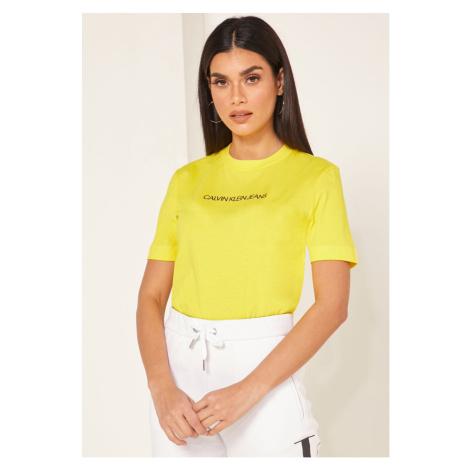 Calvin Klein Calvin Klein dámské žluté tričko SHRUNKEN INSTITUTIONAL LOGO TEE