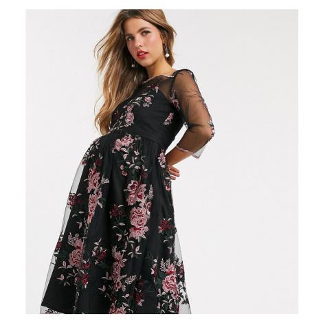 Chi Chi London Maternity mesh embroidered midi dress in multi