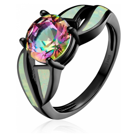 Linda's Jewelry Stříbrný prsten Wonder černý s opálem Ag 925/1000 IPR063 Velikost: 55