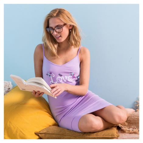 Blancheporte Bavlněná noční košile s potiskem love lila