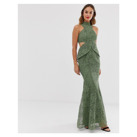 ASOS DESIGN high neck lace maxi dress with cut outs and fishtail hem-Multi