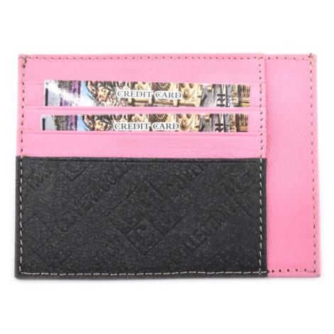 Dámská/pánská kožená dokladovka k uložení kreditních karet a dokladů Coveri - růžová