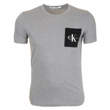 Pánské šedé tričko s barevnou náprsní kapsou Calvin Klein