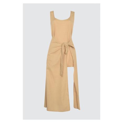 Trendyol Linen Looking Tie Detail Beach Dress
