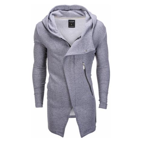 Pánská mikina na zip s kapucí Hugo šedá Ombre Clothing
