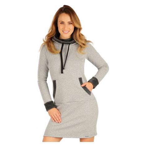 LITEX Mikinové šaty s kapucí 7A092110 světle šedé melé