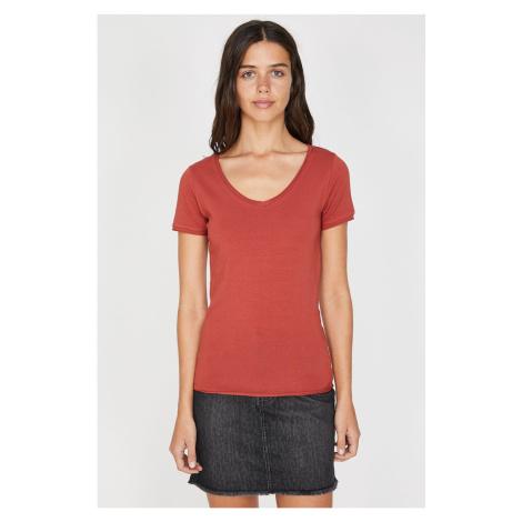 Koton Women's Red V Neck T-Shirt