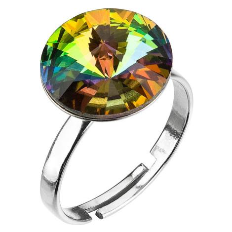 Evolution Group Stříbrný prsten s krystaly zelený 35018.5 vitrail medium