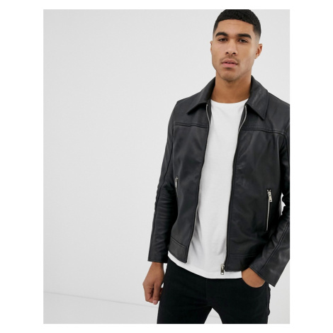 Bolongaro Trevor slim fit leather jacket-Black
