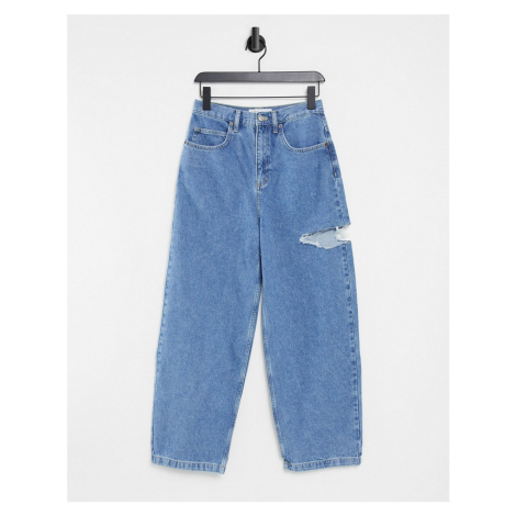 Topshop thigh rip wide leg jeans in mid wash blue