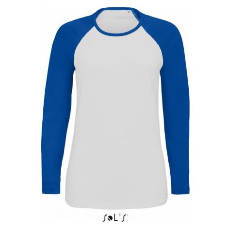 Dámské raglánové tričko FLSL dlouhé - Královská modř