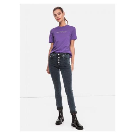 Calvin Klein Calvin Klein dámské fialové tričko s nápisem ORGANIC COTTON LOGO T-SHIRT