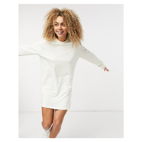 Nike essential long sleeve t-shirt dress in off white